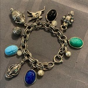"Jewelry - 7"" charm bracelet with scarab beetles"